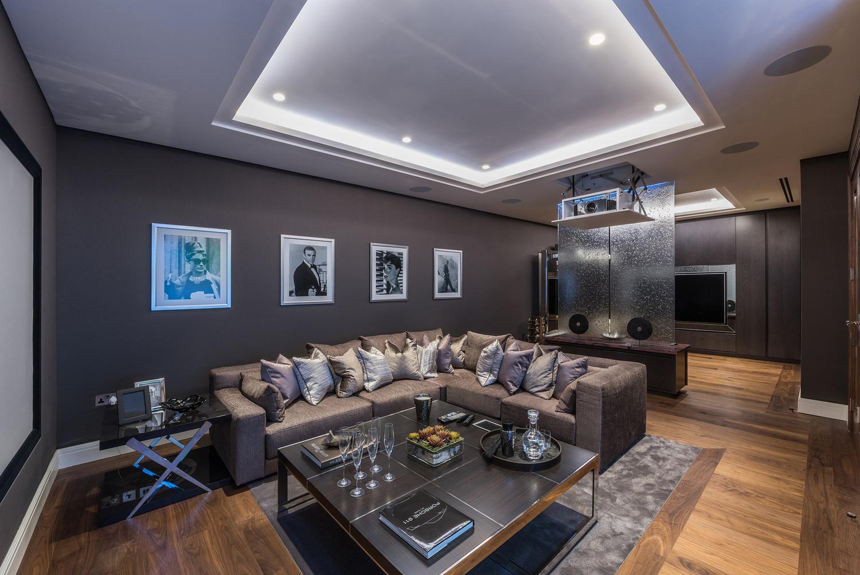 Basement media room, London house