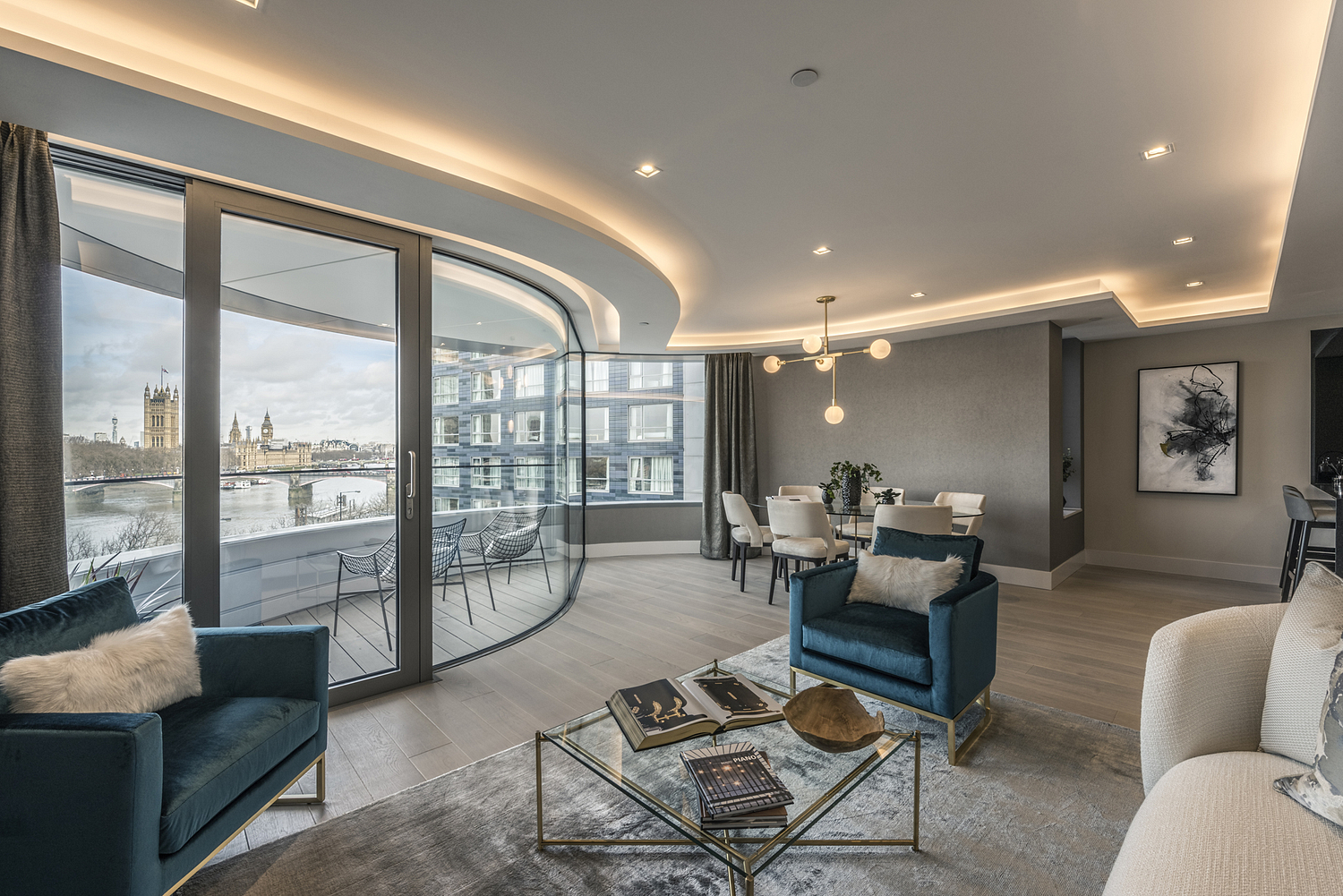 Sitting room with view across River Thames, London