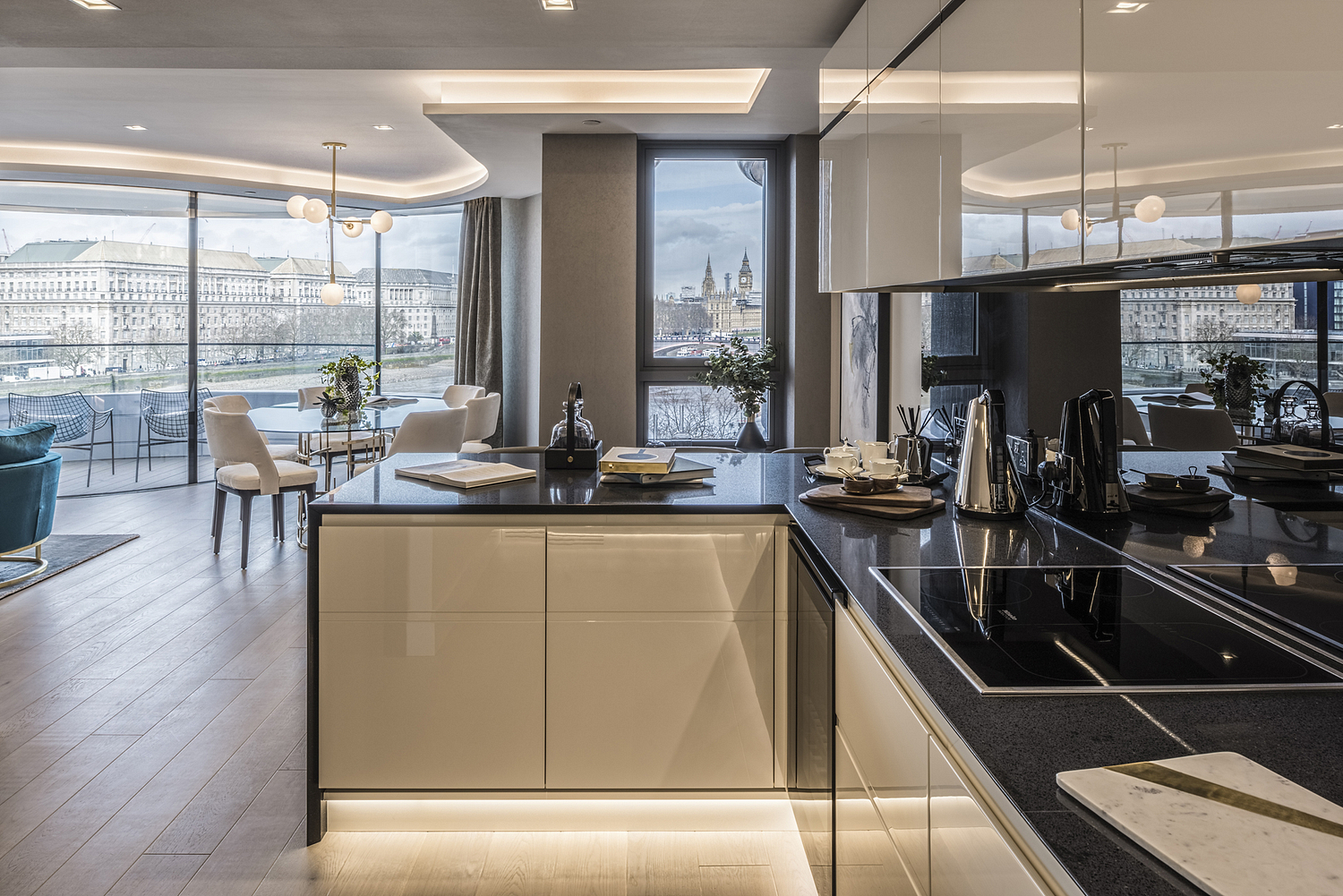 Apartment kitchen detail with view of London