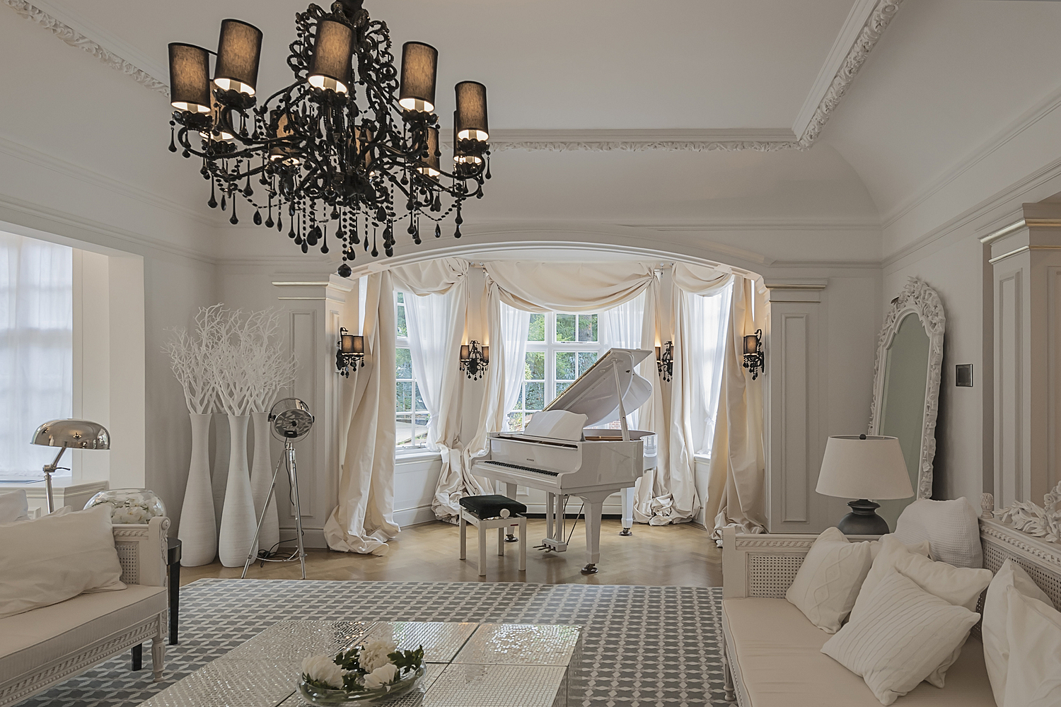 Sitting room with white grand piano, London house