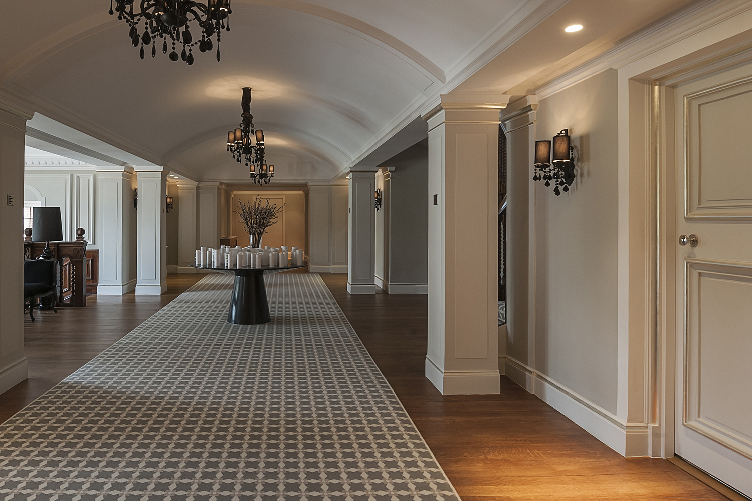 Grand hallway with candles, London house
