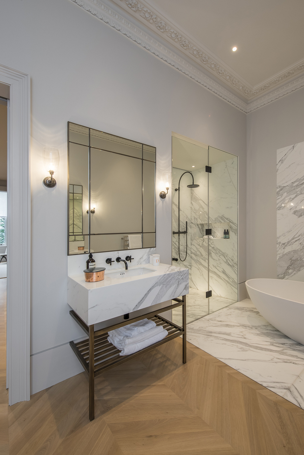 Ensuite detail with marble and parquet contrast, London