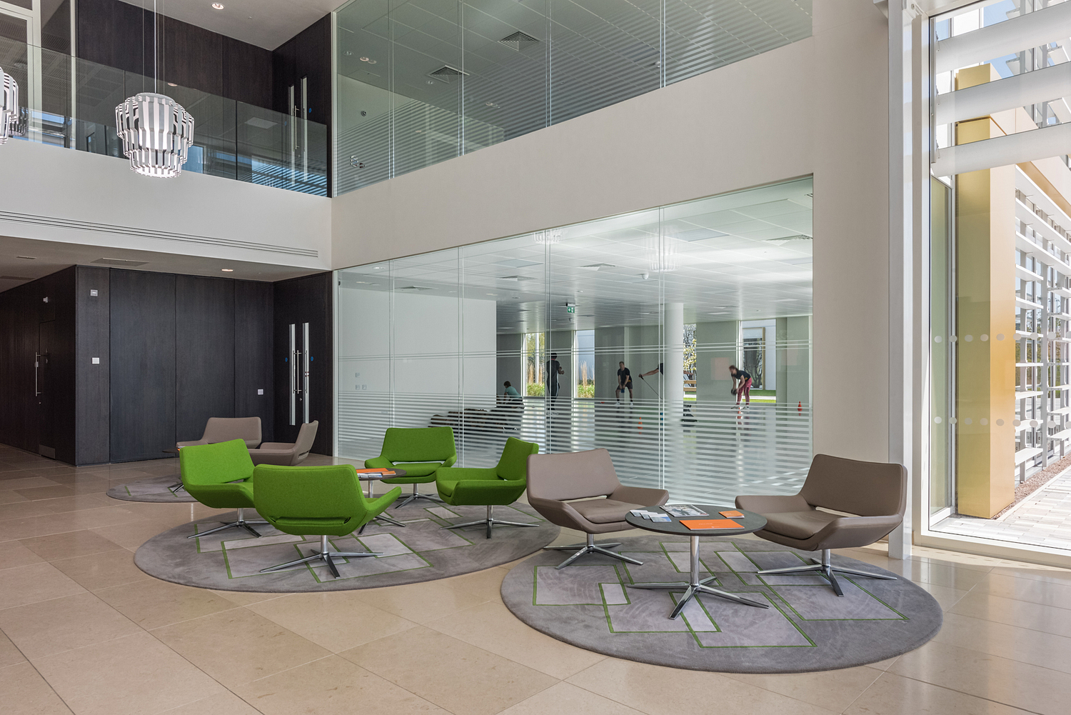 Reception lobby with gym session views, Surrey