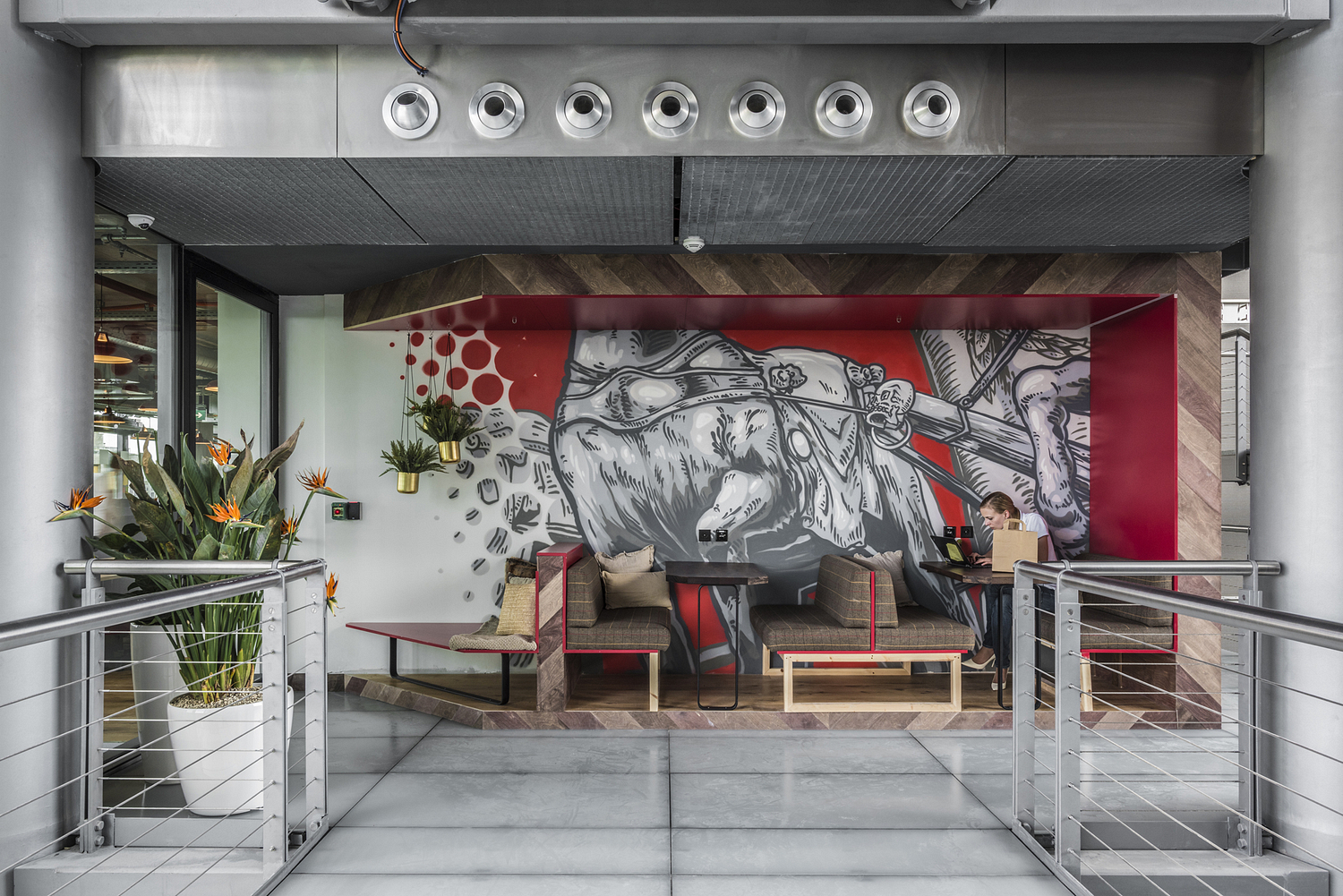 Outdoor office breakout area with graffiti, Berlin