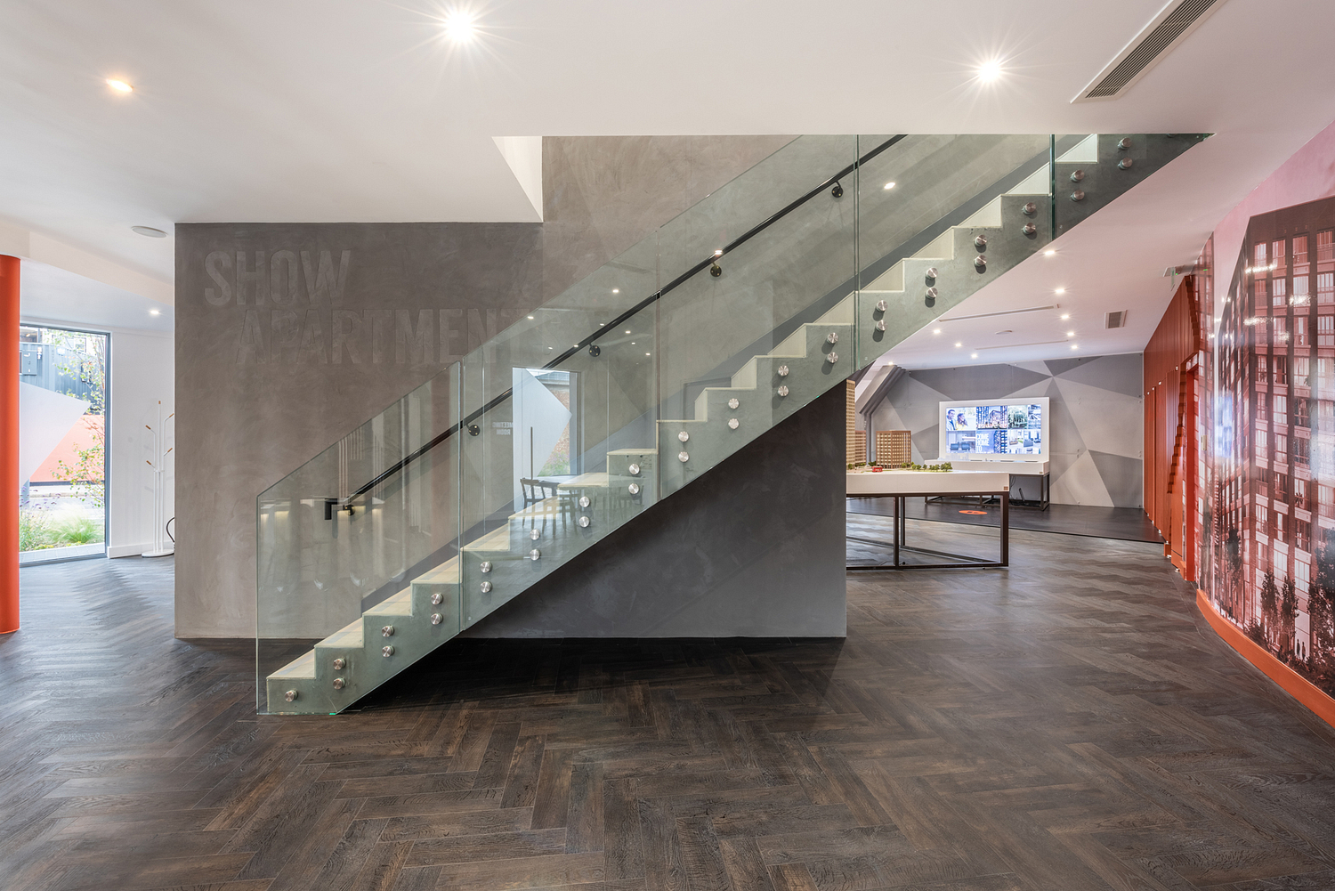 Glass and polished concrete staircase, marketing suite, London