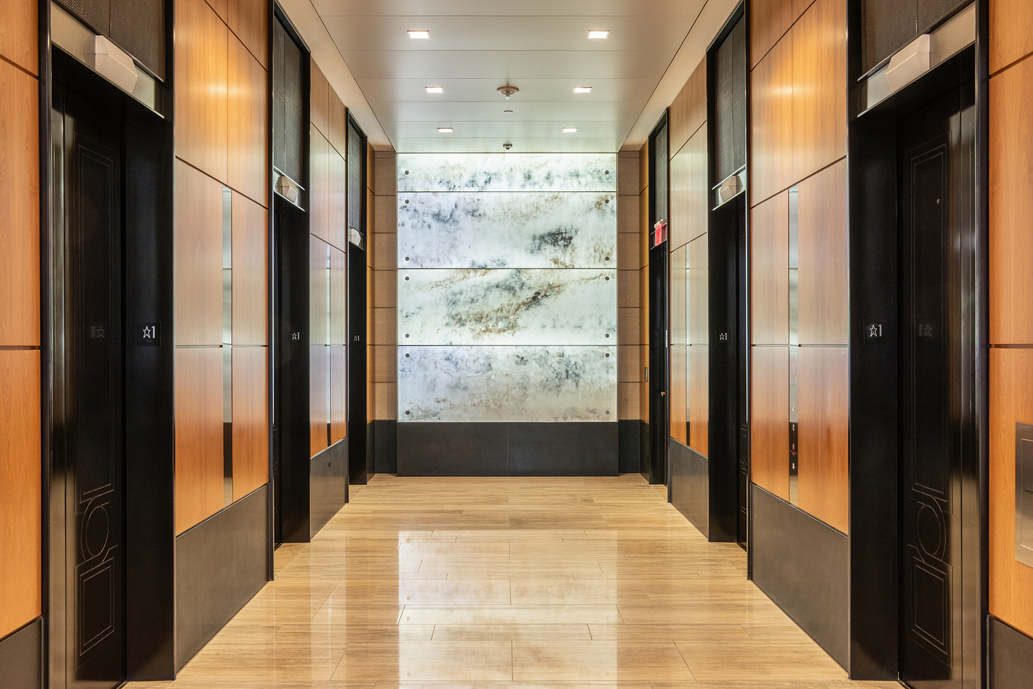 Lift lobby with backlit onyx wall, Washington DC