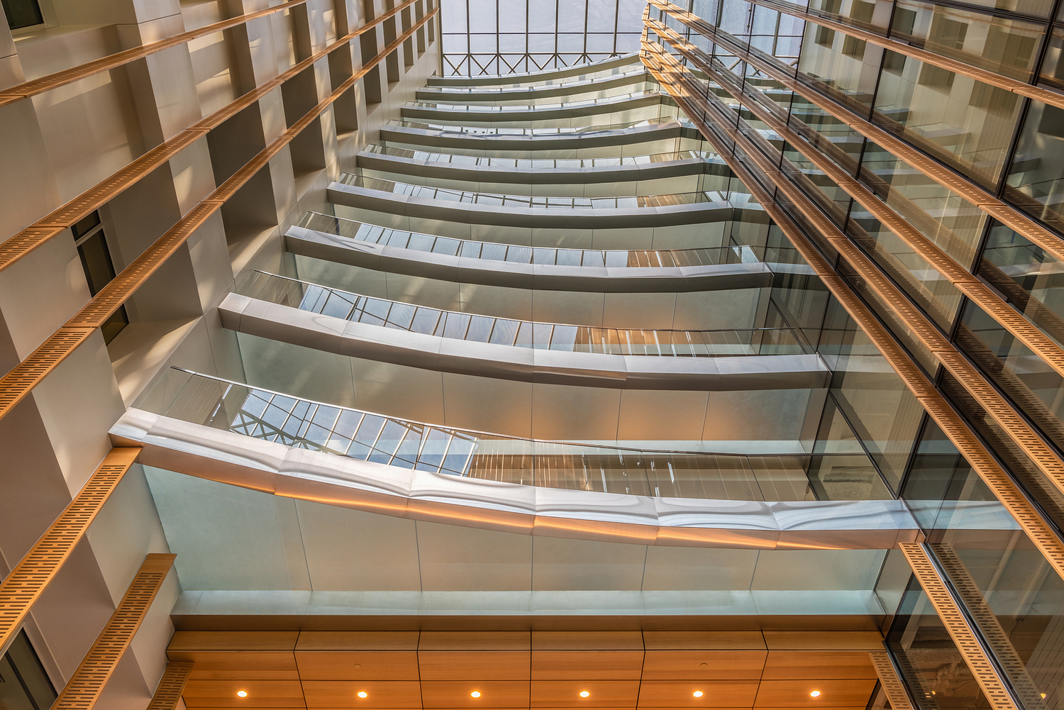 Stainless steel and glass balconies, office lobby, Washington DC