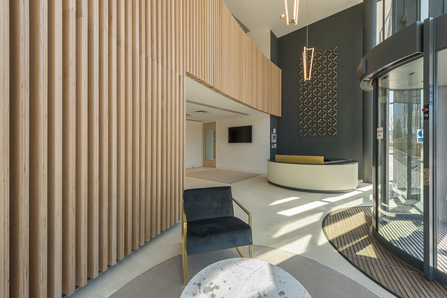 Curved reception space, offices, Weybridge, Surrey