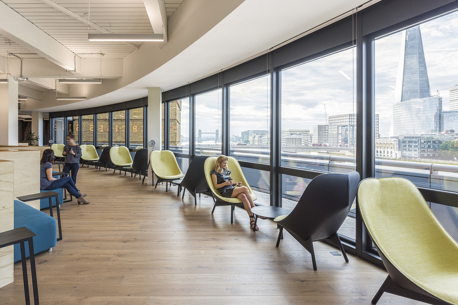 Office break-out area with views of London