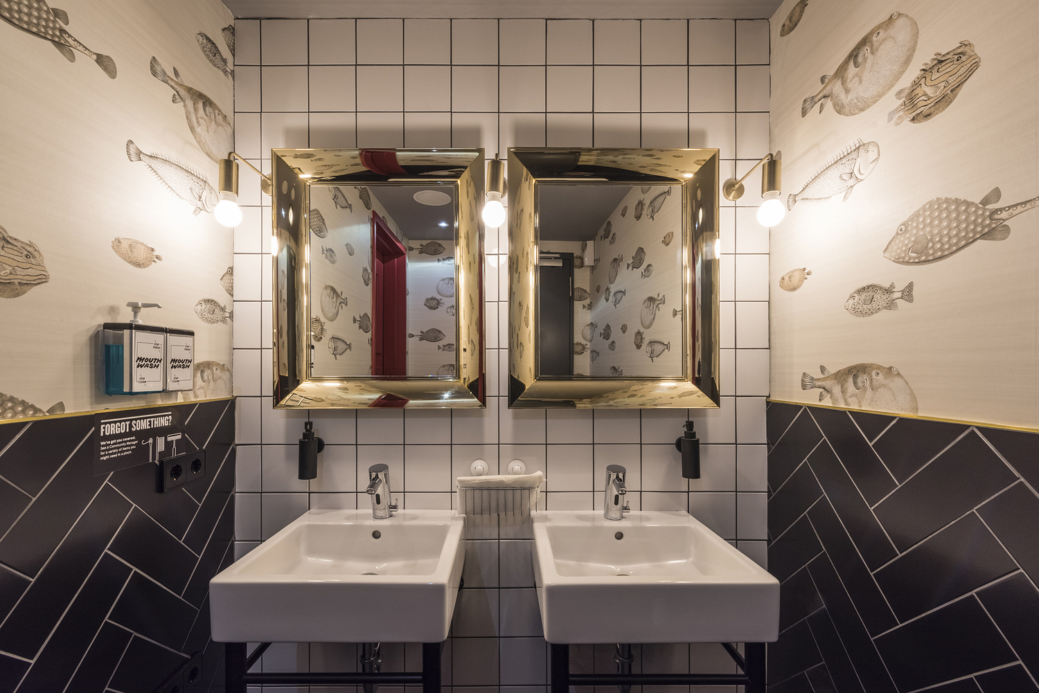Washroom with fish wallpaper, workspace, Berlin