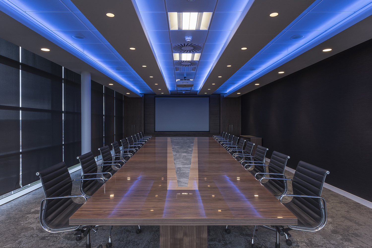 Conference room with coloured ceiling lights, Aberdeen