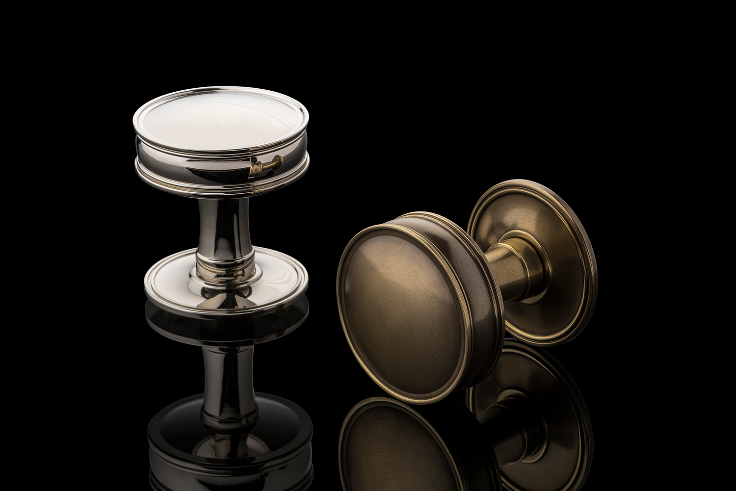 Door knobs in antique brass and polished nickel, Joseph Giles, London