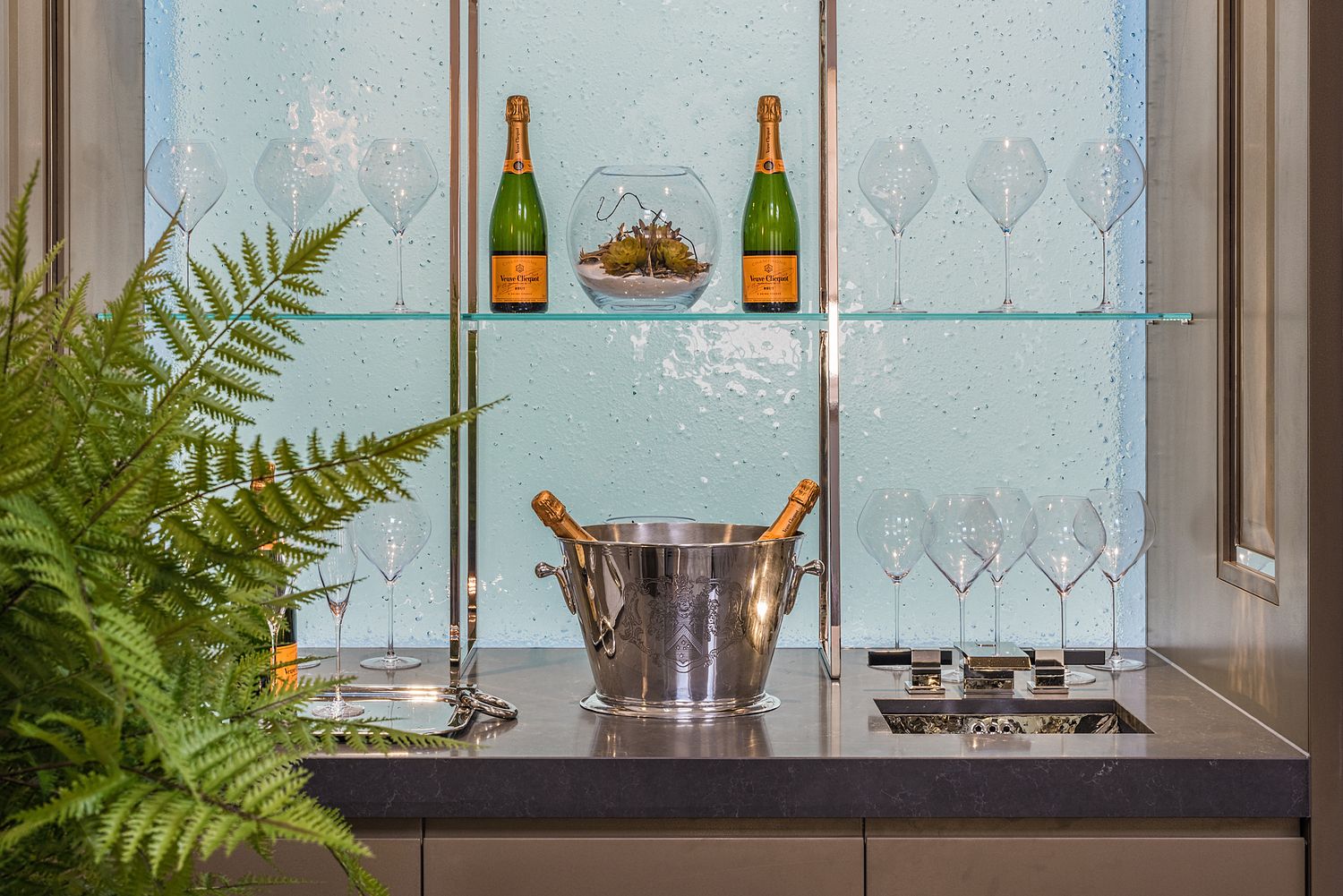 Bar detail with champagne, London apartment