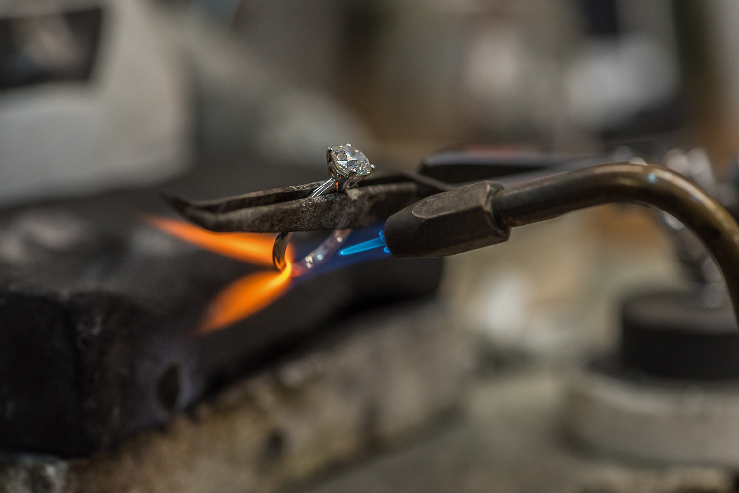 Diamond ring with blowtorch, London