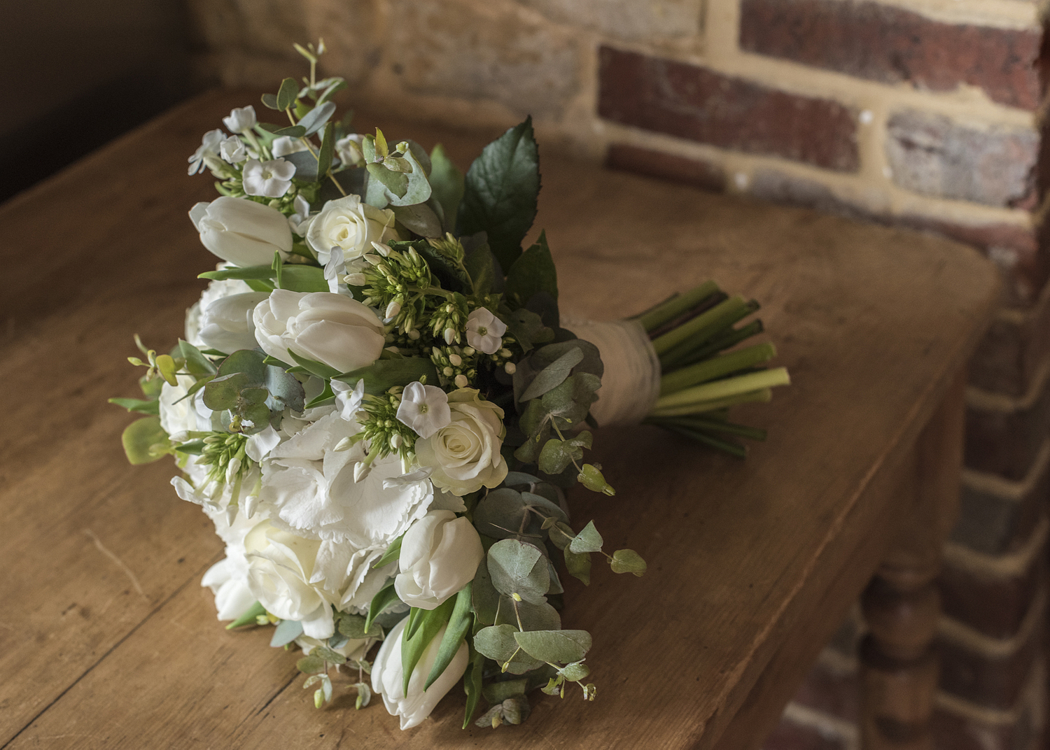 Wedding bouquet on the kitchen table, Surrey