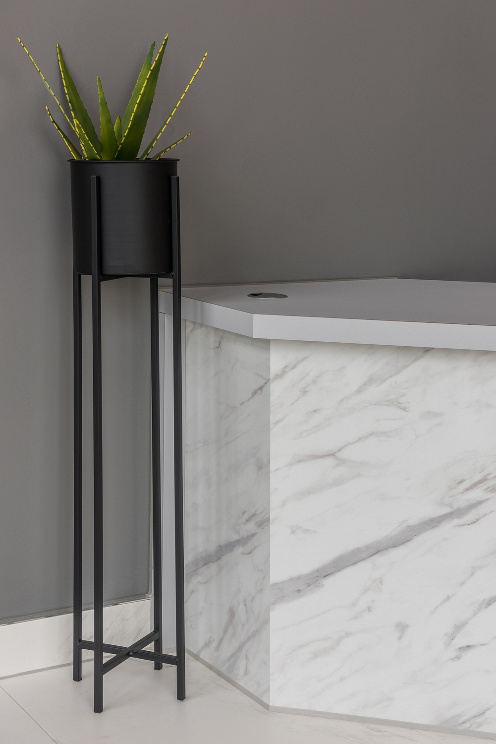 Marble effect desk and plant detail, London