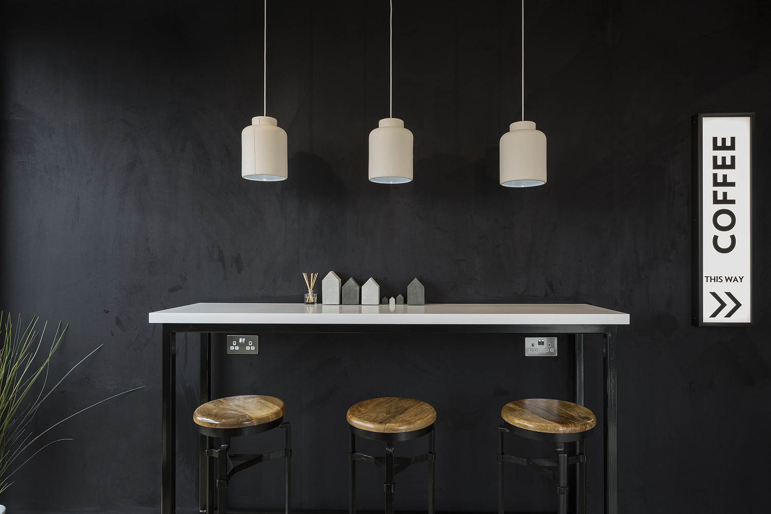 Coffee bar table with stools and pendants, London marketing suite
