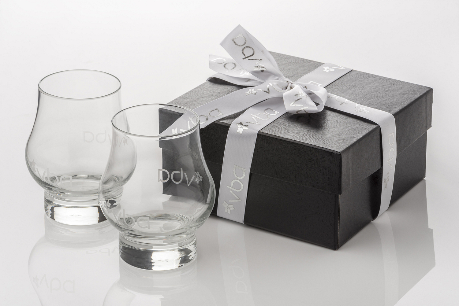Advertising specialties engraved glasses and box, Baltimore