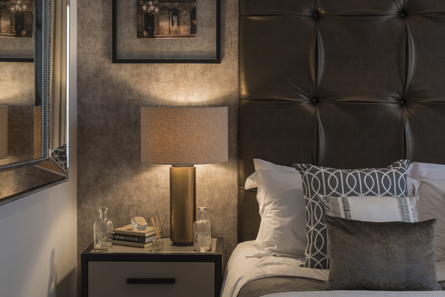 Bed and side table detail, London show apartment