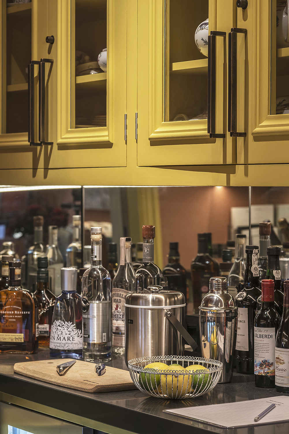 Hotel bar counter detail, London