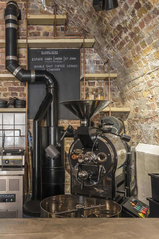 Coffee roaster detail, coffee shop, London