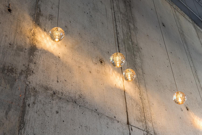 Crystal pendant light detail, coffee shop, Toronto