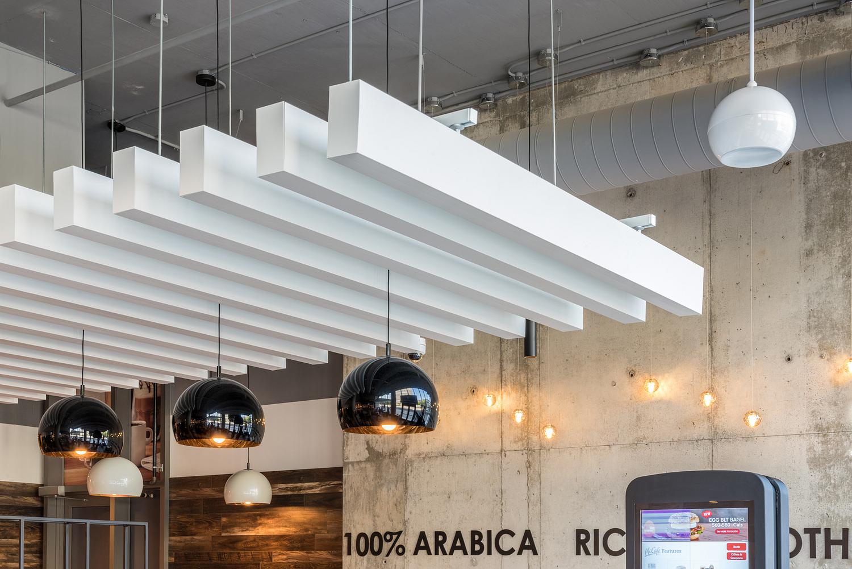 Ceiling baffle detail, McCafe, Toronto