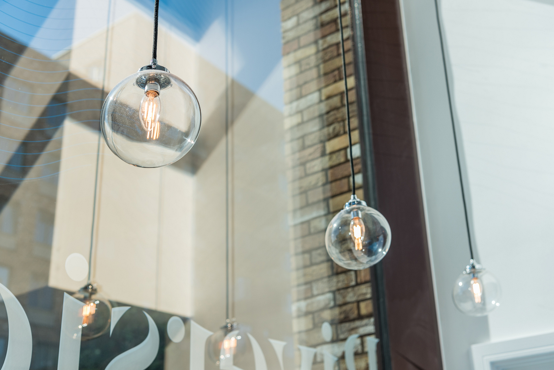 Glass globe pendant light detail, London