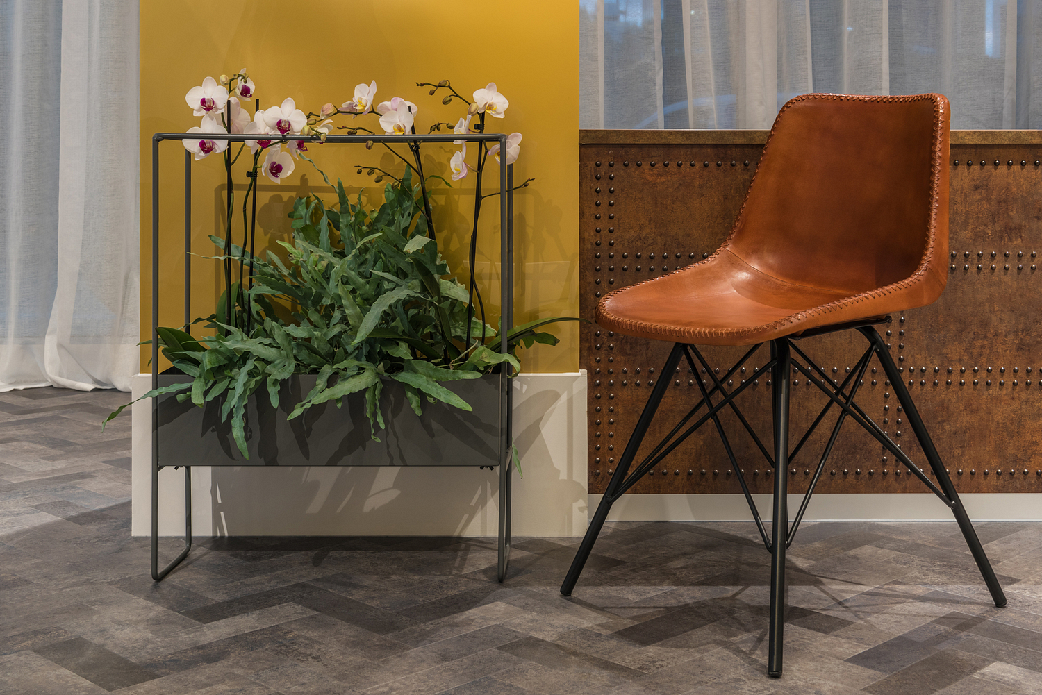 Chair and plant detail, marketing suite, London