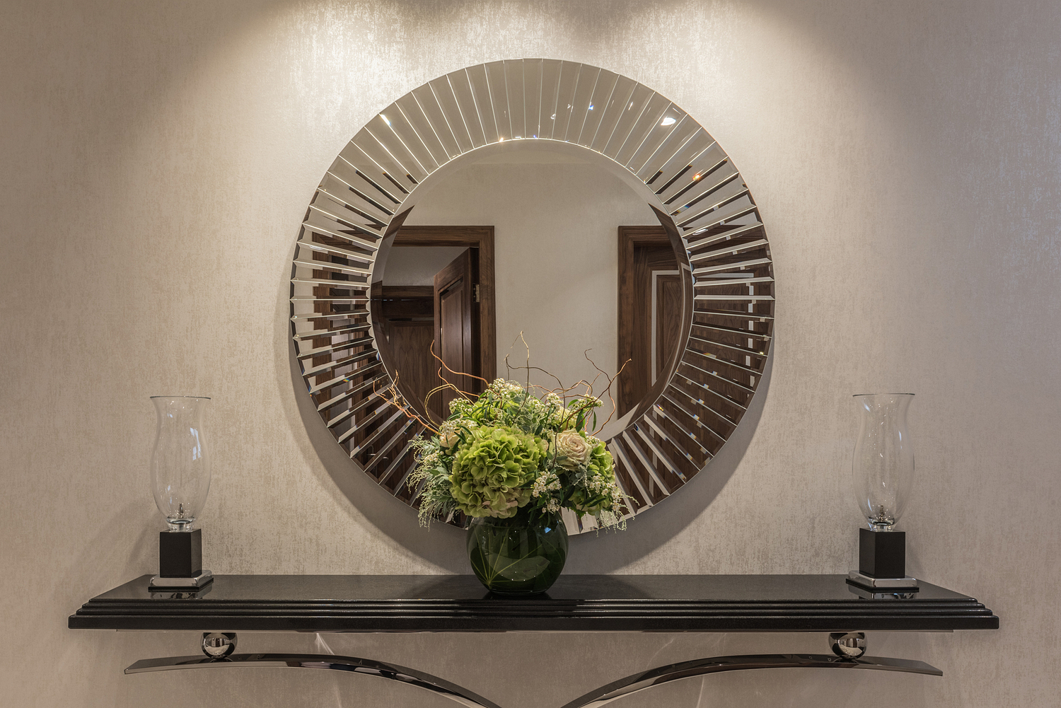 Mirror and console table detail, London