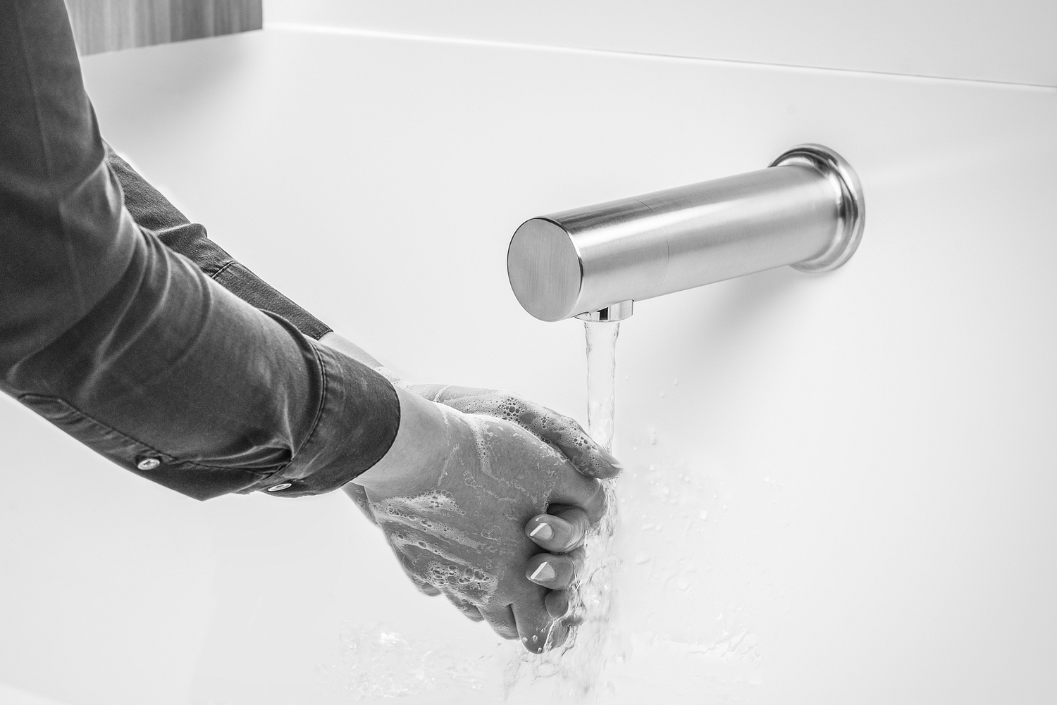 Hand washing detail, monochrome