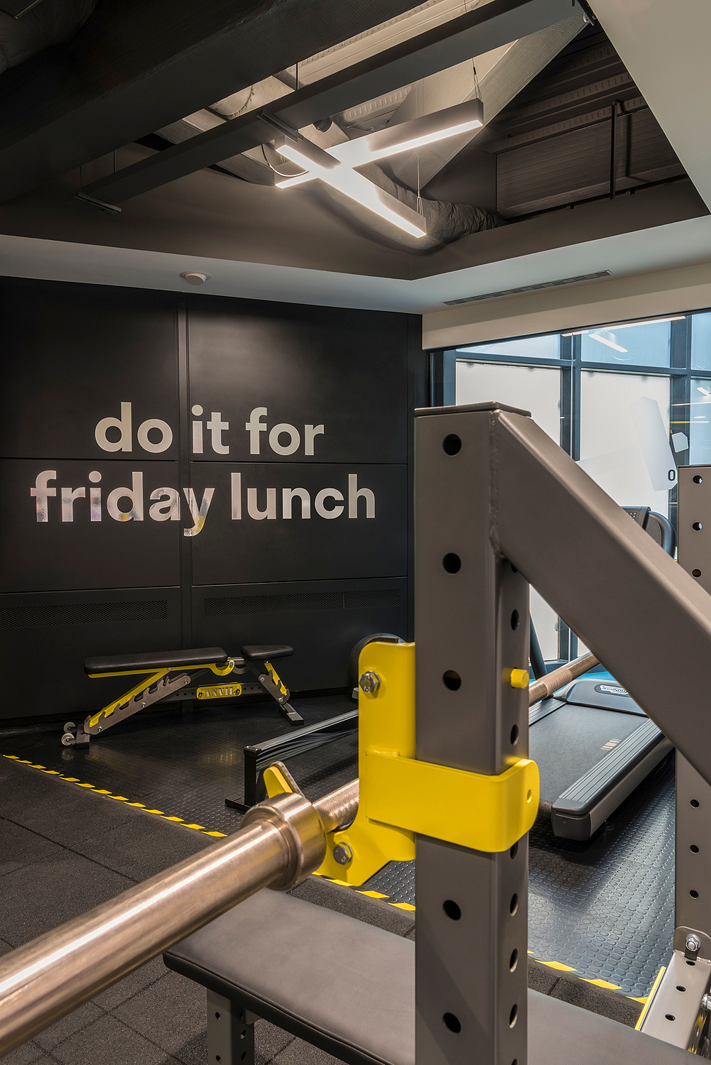 Office gym signage detail, London