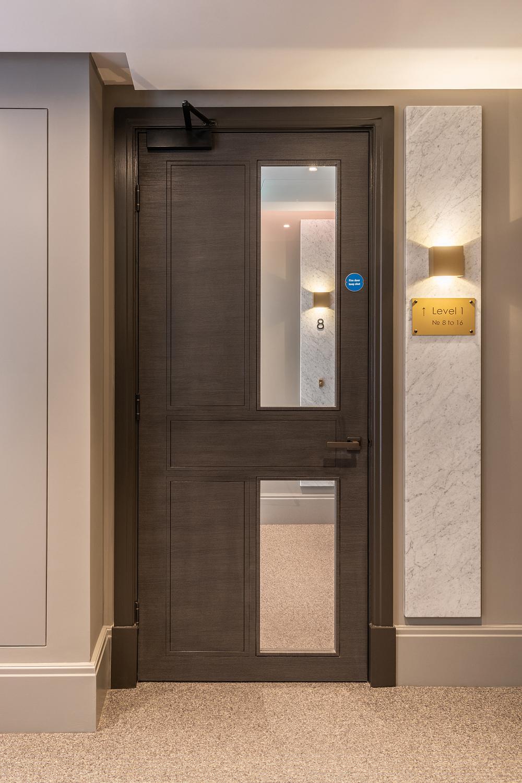 Communal door, London apartment building