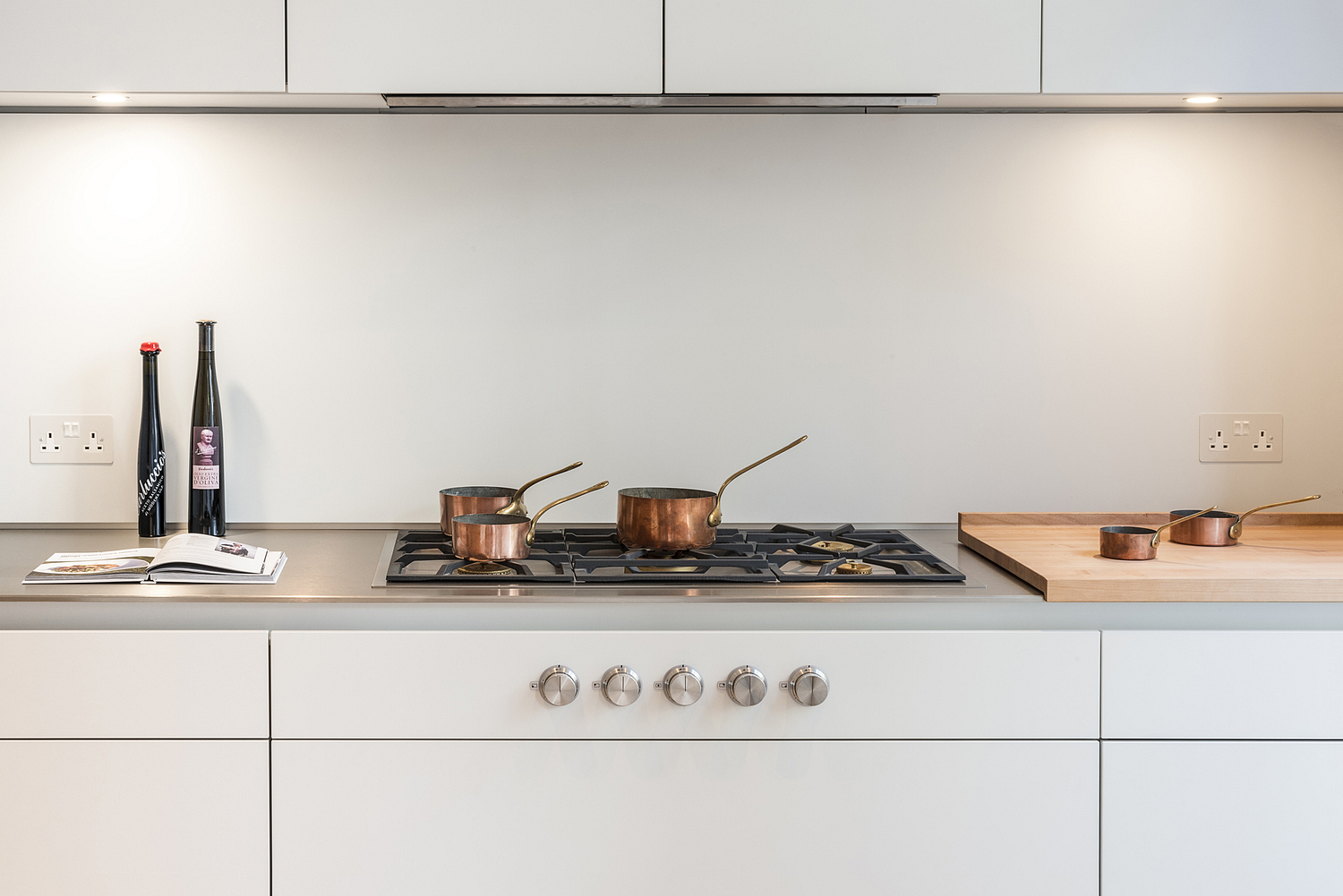 Kitchen detail with copper pans, London Townhouse