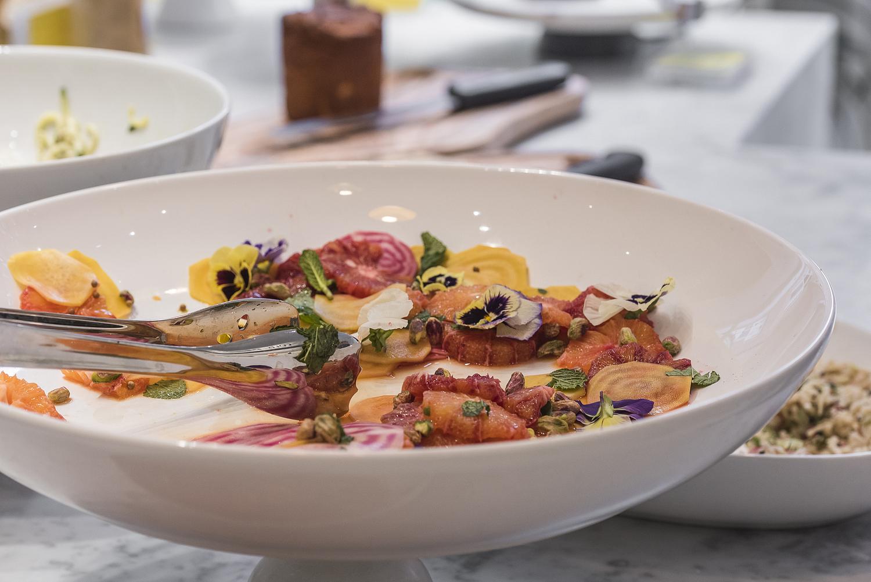 Leftover salad with edible flowers, delicatessen, London