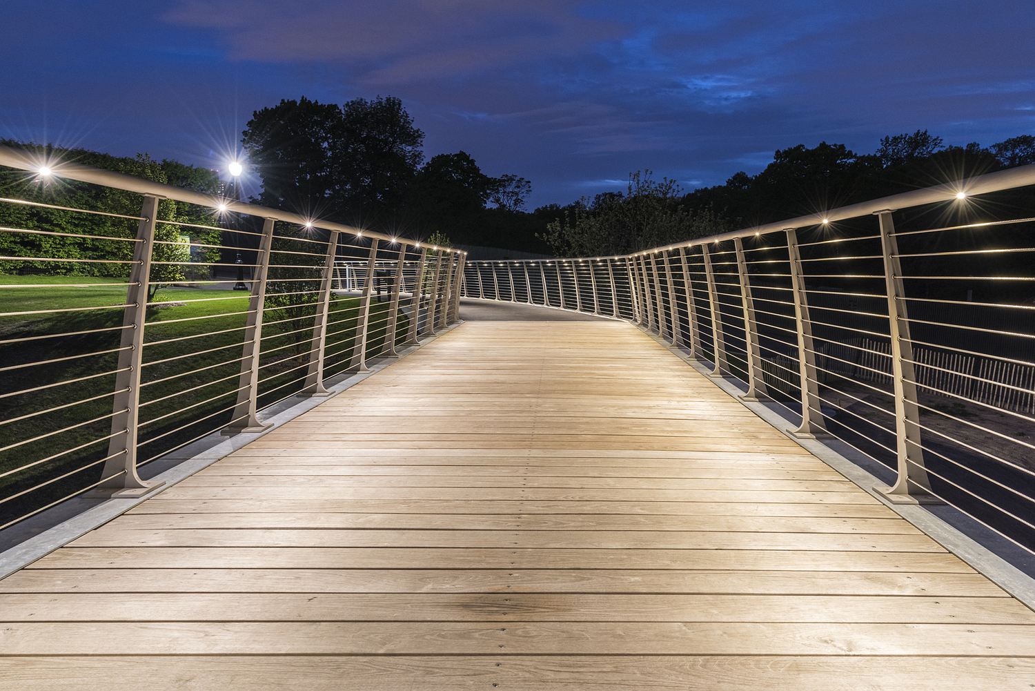 Foot bridge at night, New York Botanical Gardens