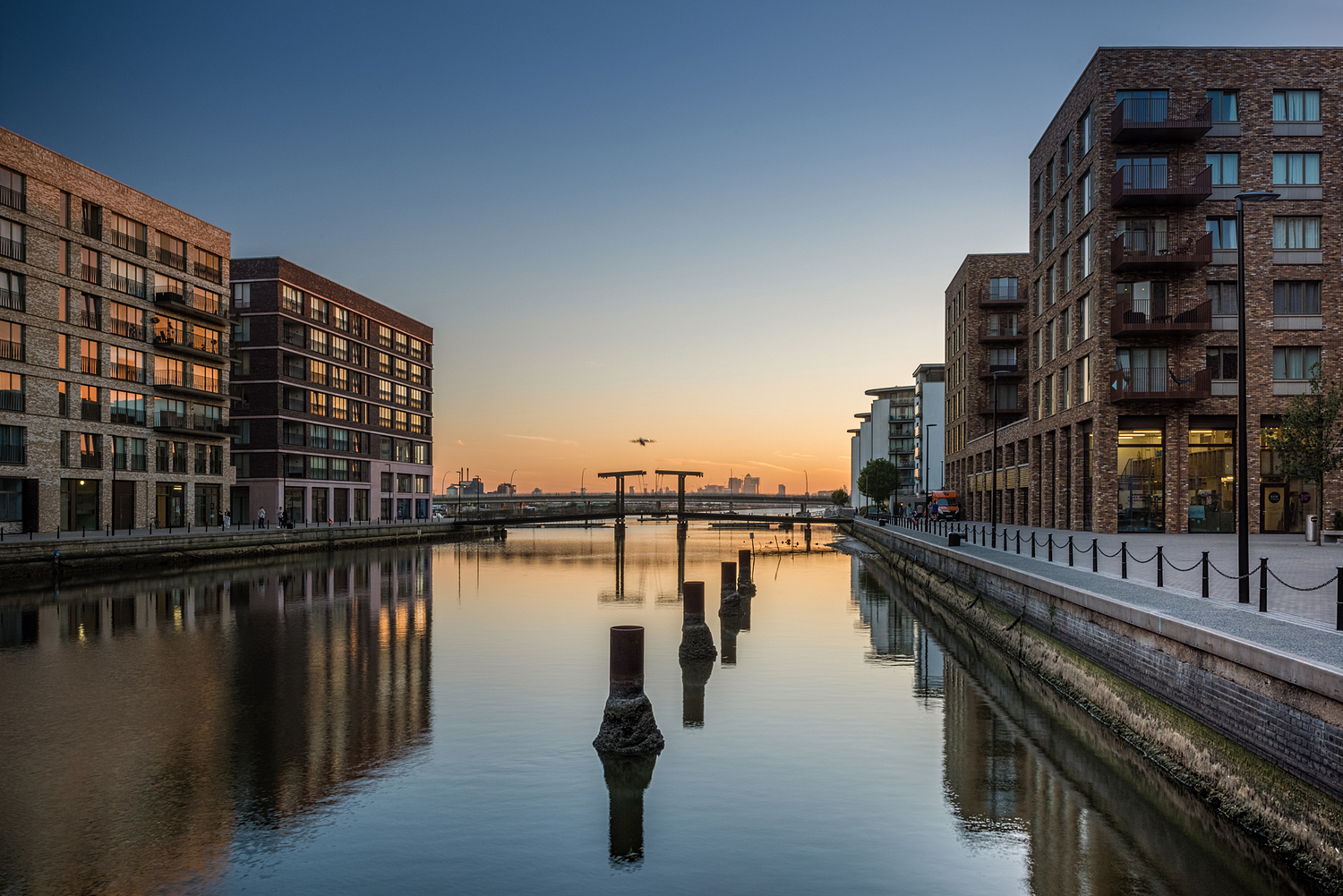 Royal Albert Wharf at dusk, London