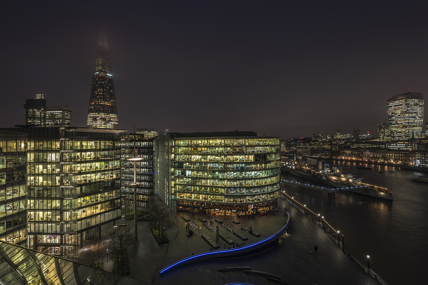 View of Southbank at night, London