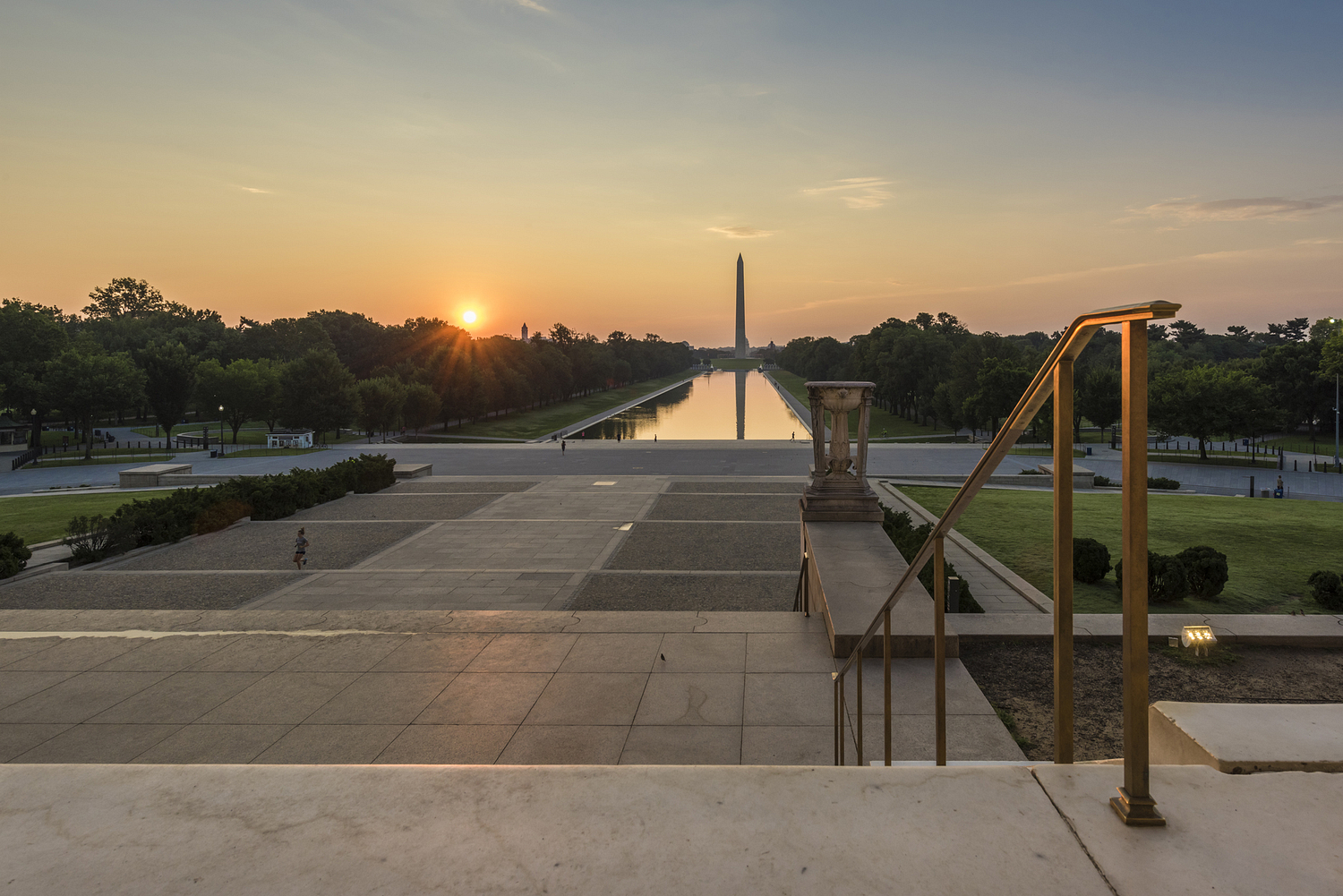 Dawn view of Washington Monument from Lincoln Memorial, Washington DC