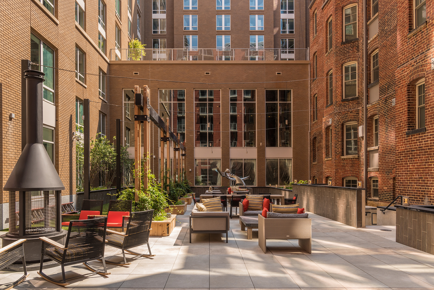 Outdoor communal area, apartment building, Washington DC