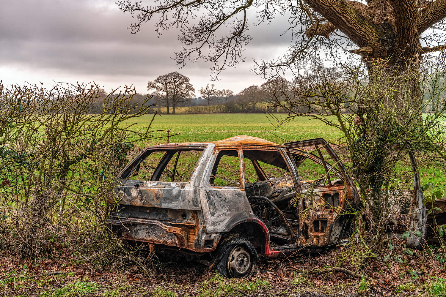 Burnt out car, Surrey countryside