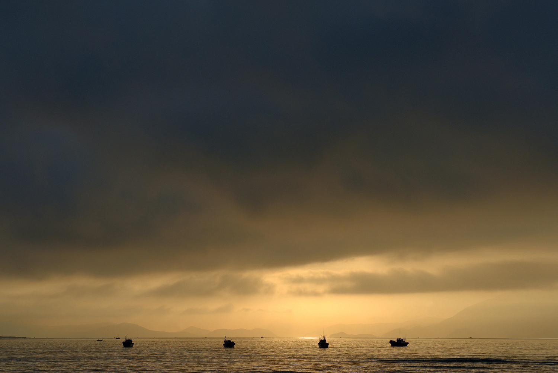 Vietnamese Fishing Boats at Dawn