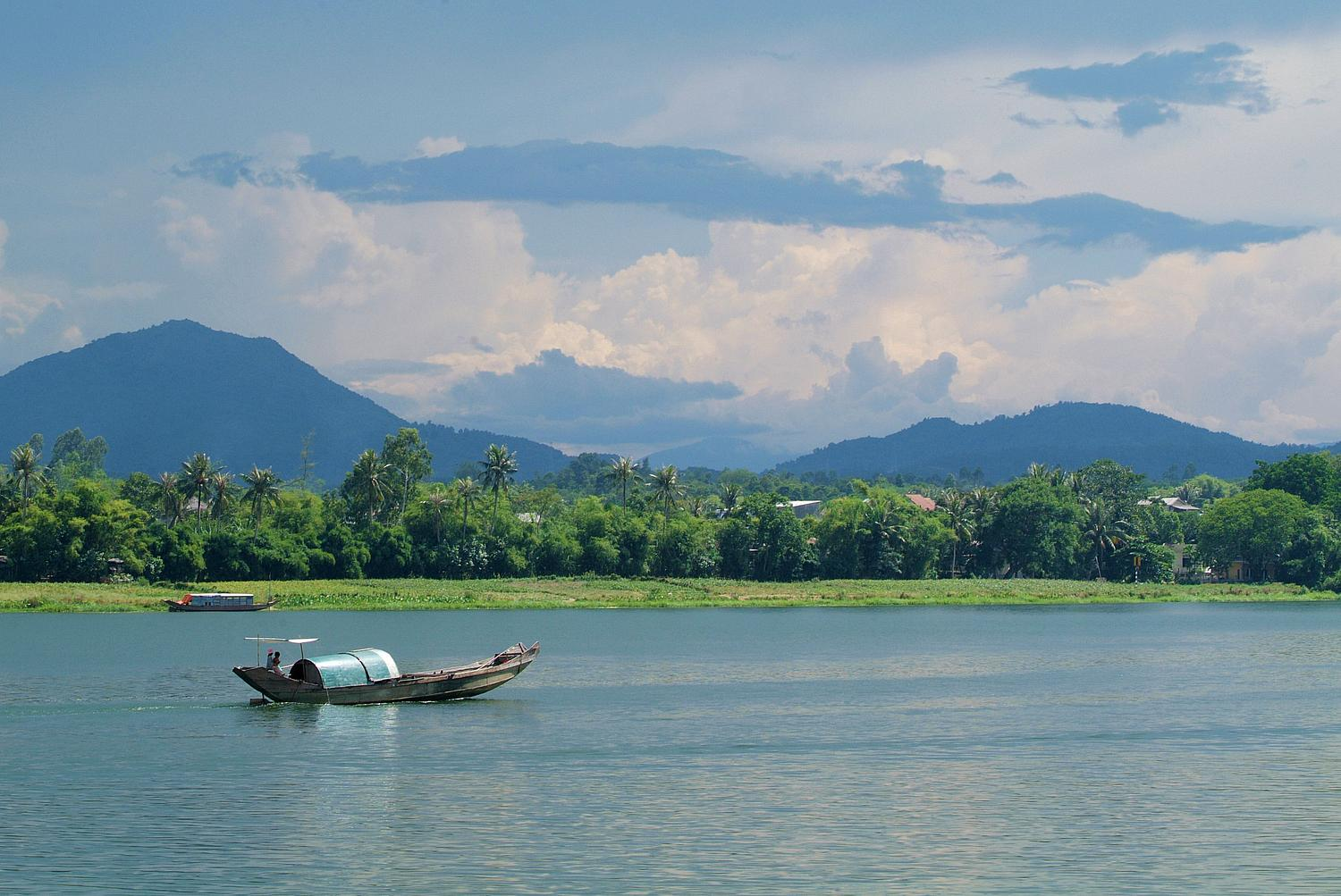 Boat on the Perfume River near Hue in Vietnam