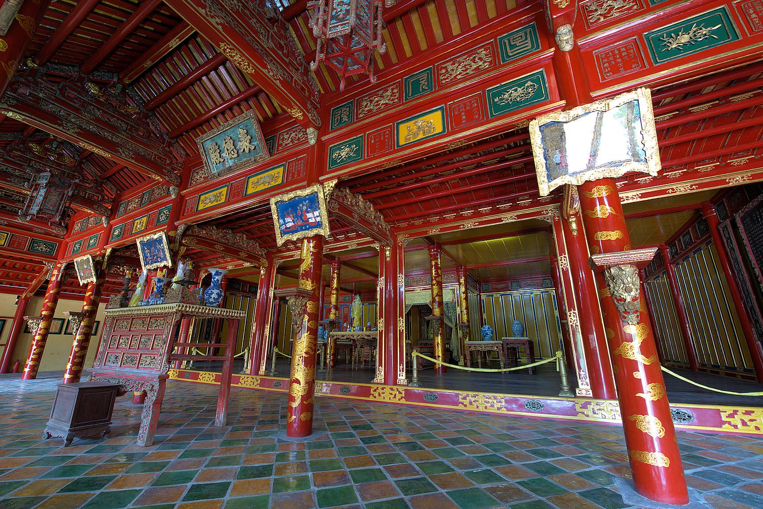 Interior of the Gia Long Imperial Tomb near Hue