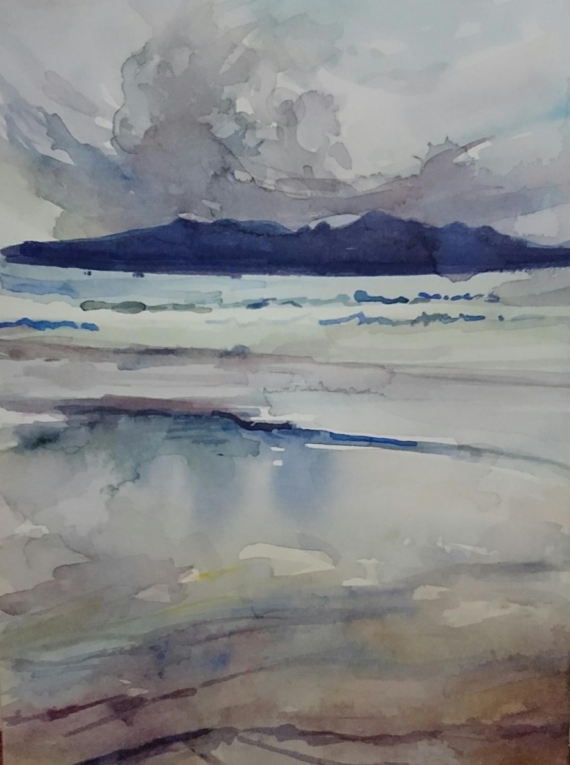 Laig Beach, Eigg, Watercolour on paper, 2017