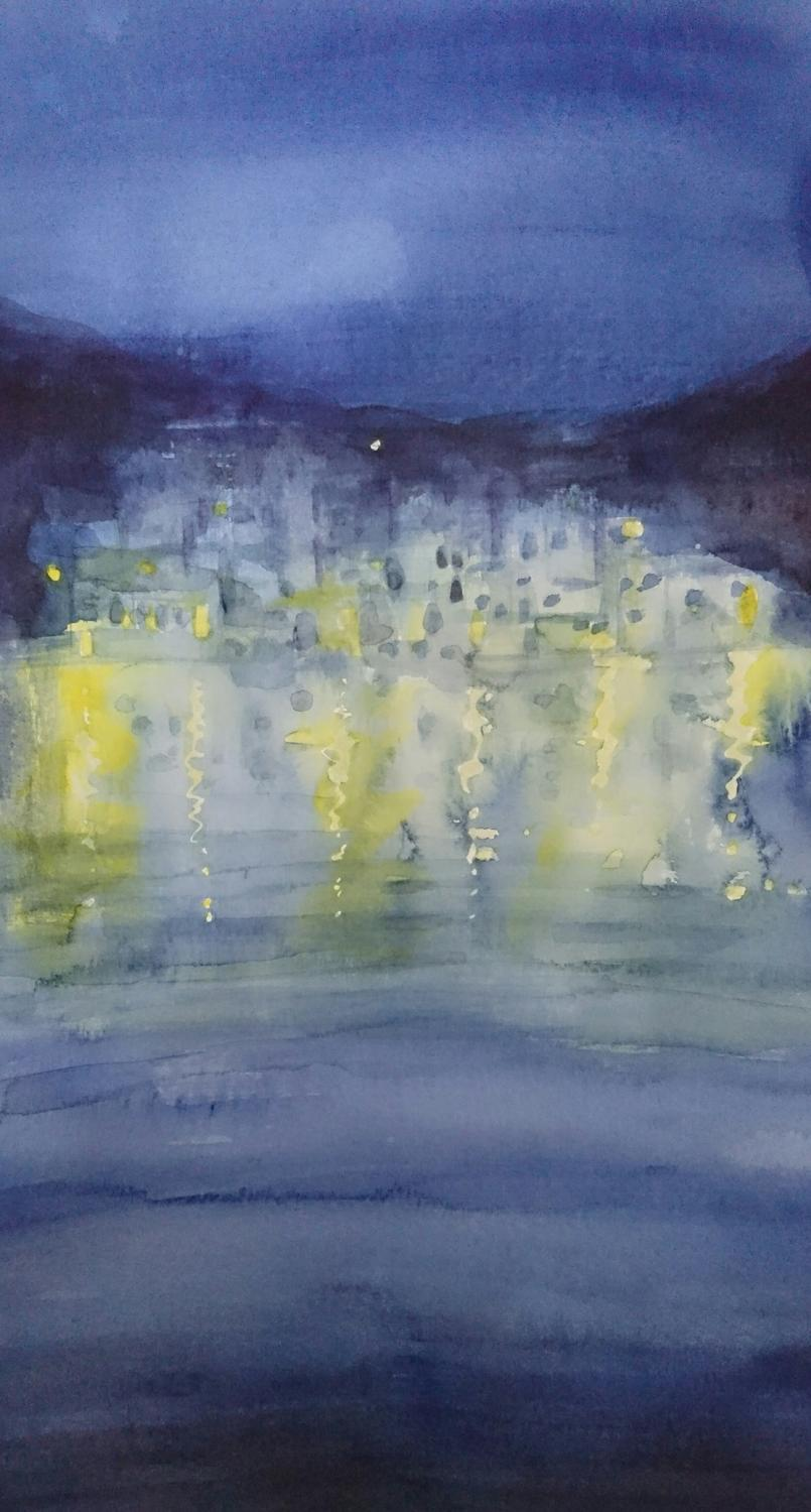 Linaria, Skyros at night, Watercolour on paper, 2018