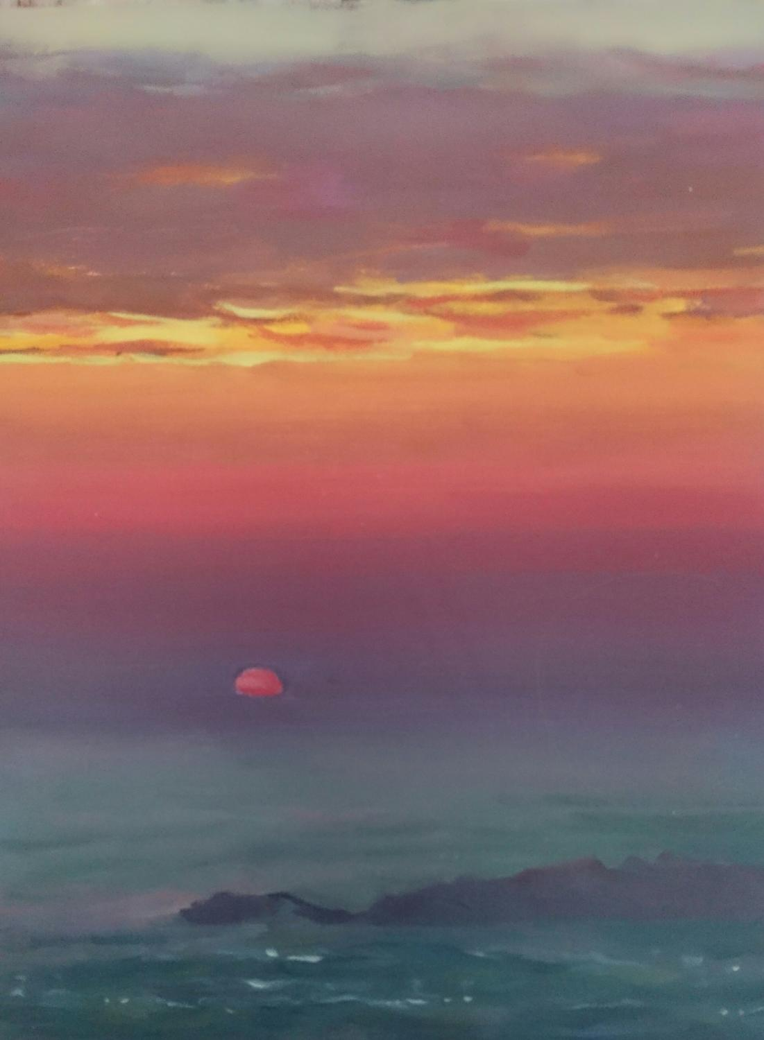 Skyros sunrise, oil on board, 2018