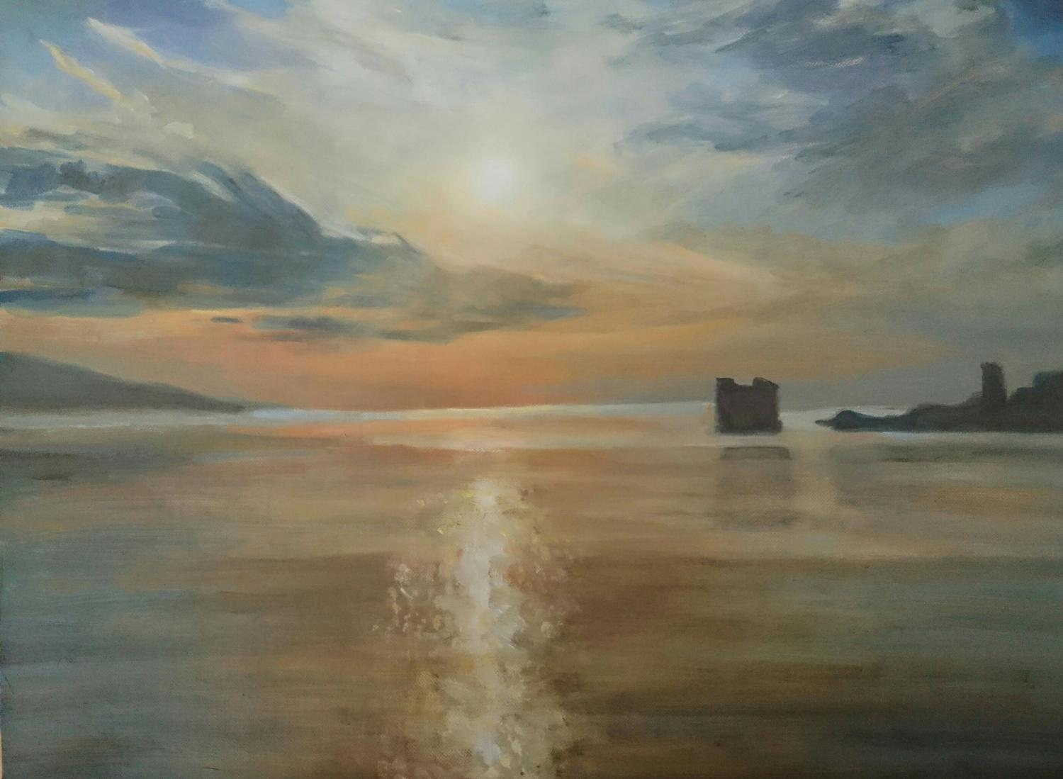Skyros sunset, oil on board, 2018
