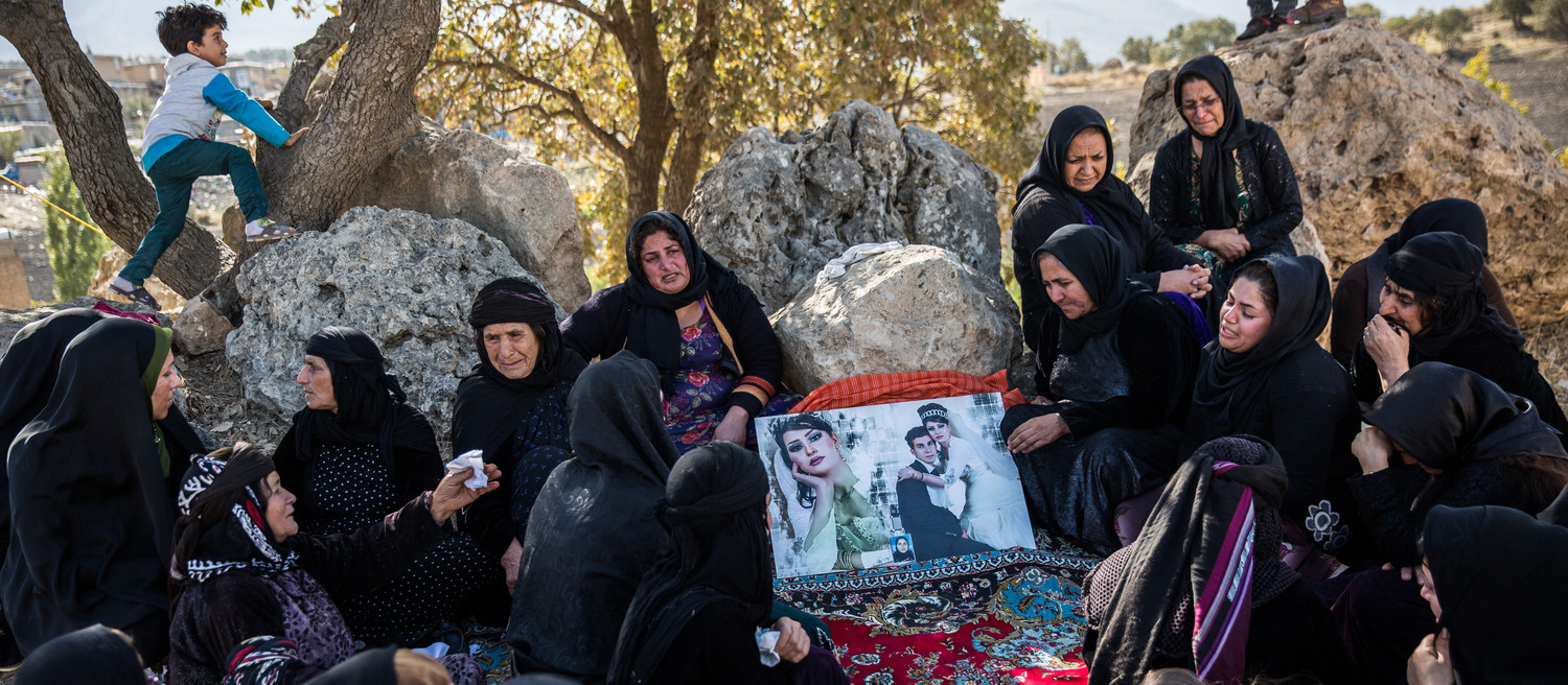 Bezmirabad-Iran: Village Women are mourning for their relatives whom lost their lives during the earthquake. A powerful 7.3-magnitude earthquake hit western Iran's Kermanshah province on Sunday night, killing at least 500 people and injuring 8000 so far.