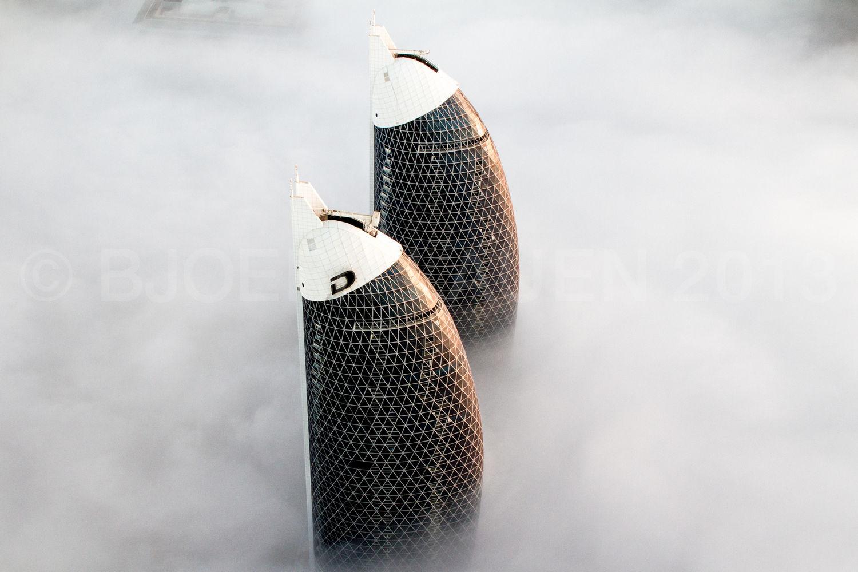 DAMAC buildings sitting a a peaceful blanket of fog